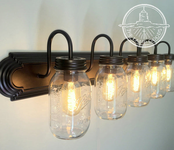 Mason Jar Bathroom Vanity 5-Light Wall Sconce Fixture