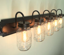 Load image into Gallery viewer, Mason Jar Bathroom Vanity 5-Light Wall Sconce Fixture - The Lamp Goods