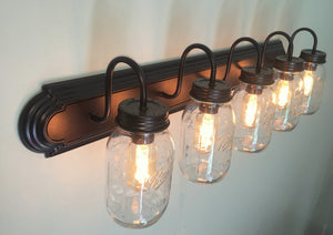Mason Jar Bathroom Vanity 5-Light Wall Sconce Fixture - The Lamp Goods