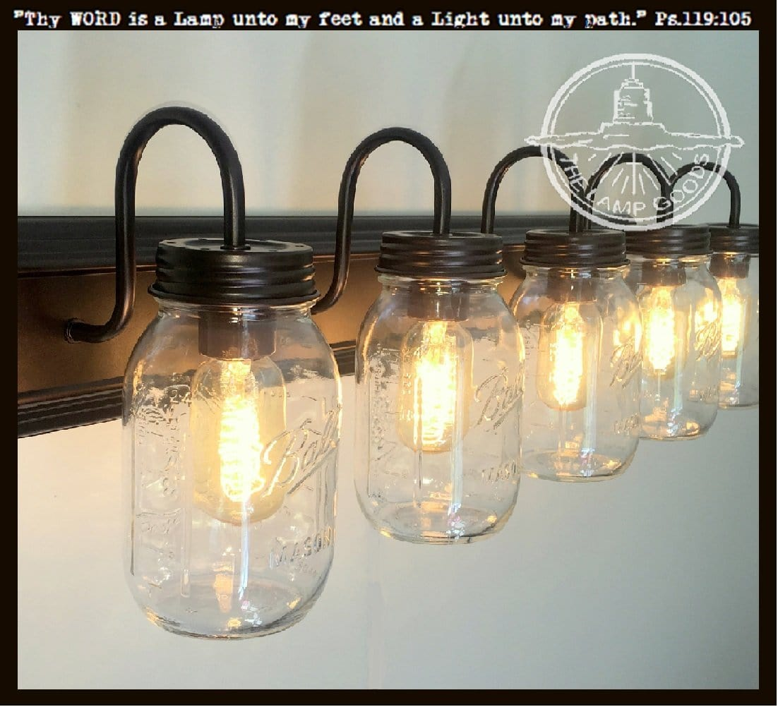 Mason jar bathroom vanity 5 light wall sconce fixture the lamp goods