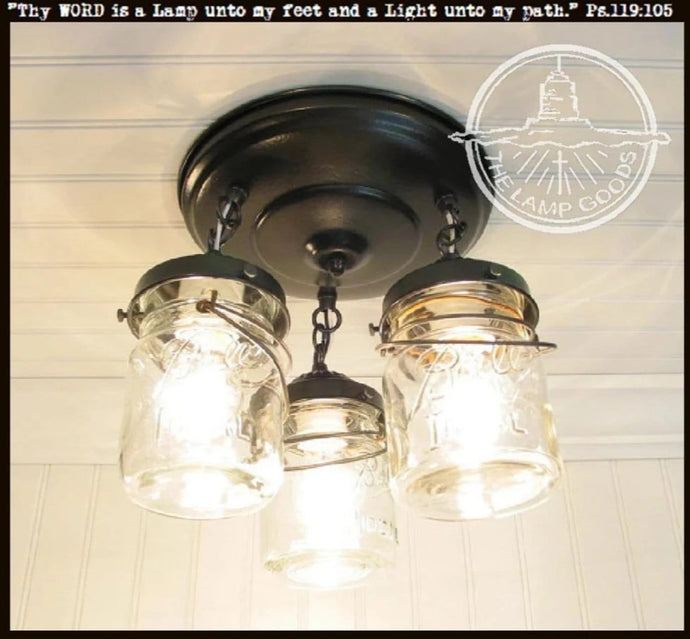 Mason Jar LIGHT FIXTURE Vintage PINT Trio - The Lamp Goods