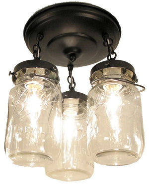 Mason Jar Light Fixture - Vintage Quart Trio - The Lamp Goods