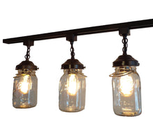 Load image into Gallery viewer, A Mason Jar TRACK LIGHT of 3 Vintage Quarts - The Lamp Goods