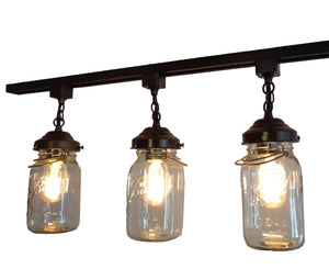 Rustic Mason Jar TRACK LIGHT of Vintage Quarts - The Lamp Goods