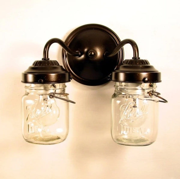 Canning Jar WALL LIGHT Double Vintage Pints - Mason Jar Light Fixture - The Lamp Goods - 4