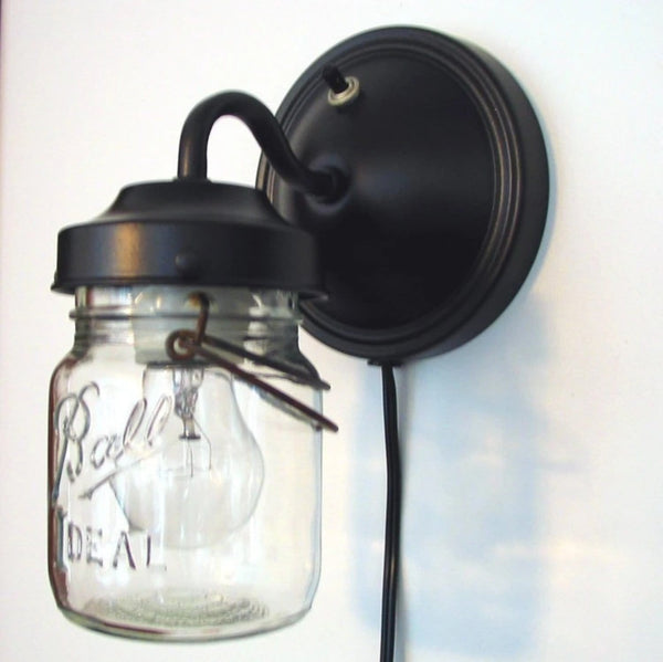 PLUG IN Mason Jar Wall Light - Mason Jar Light Fixture - The Lamp Goods - 2