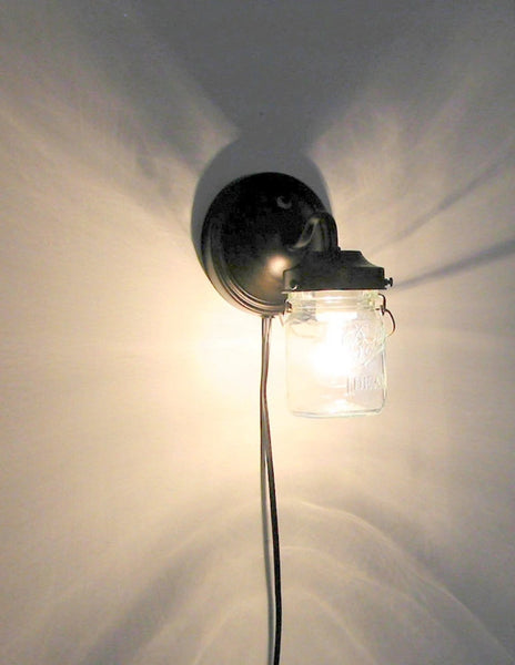PLUG IN Mason Jar Wall Light - Mason Jar Light Fixture - The Lamp Goods - 3