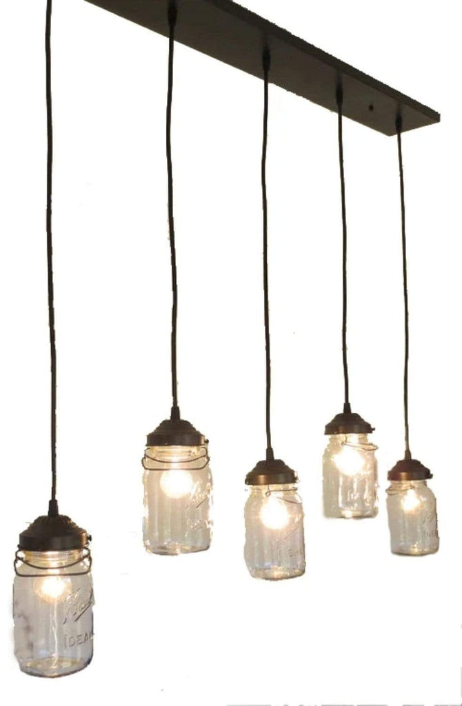 Mason Jar 5-Light CHANDELIER Rectangular Vintage Quart - The Lamp Goods