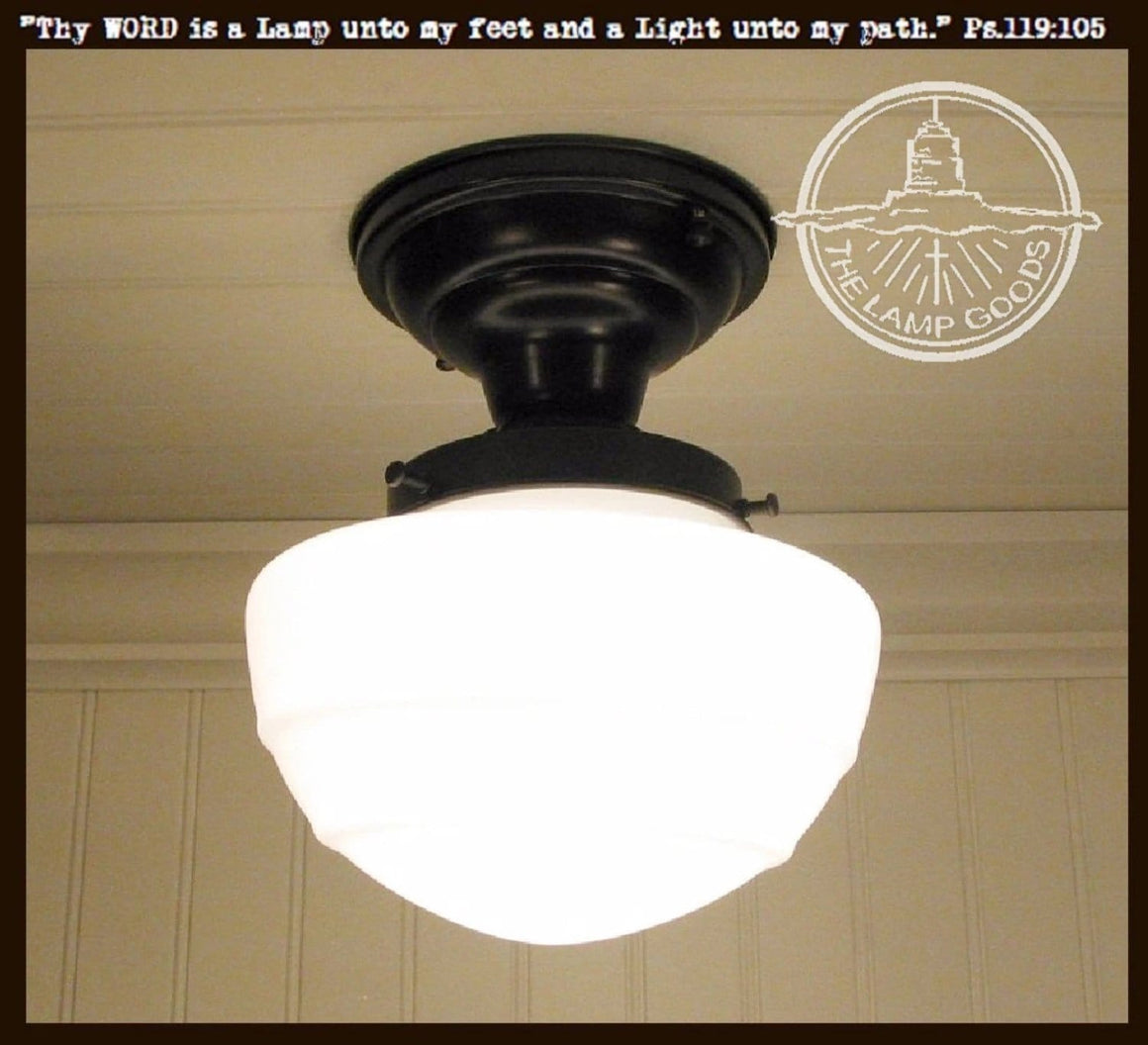Milk Glass Ceiling Light Fixture Mushroom Style - The Lamp Goods