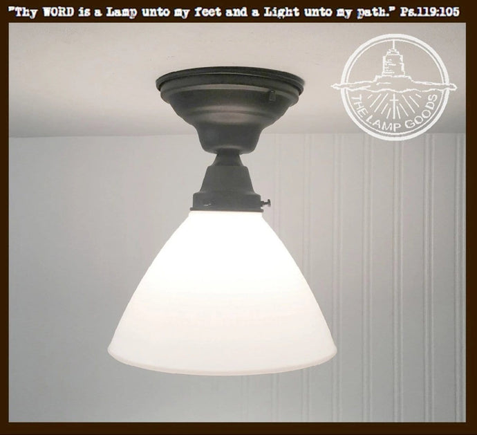 Milk Glass SEMI-FLUSH Light with Soft Waffle Pattern - The Lamp Goods