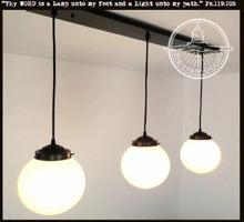 Load image into Gallery viewer, Winterport. Milk Glass CHANDELIER Light Rectangular Trio - The Lamp Goods