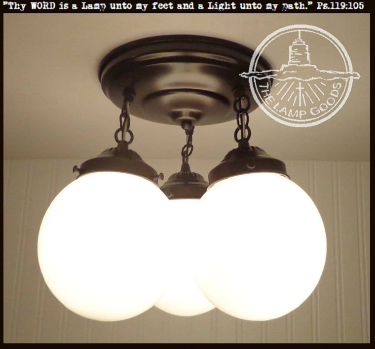 Winterport II. CEILING LIGHT Trio of Milk Glass Globes - The Lamp Goods