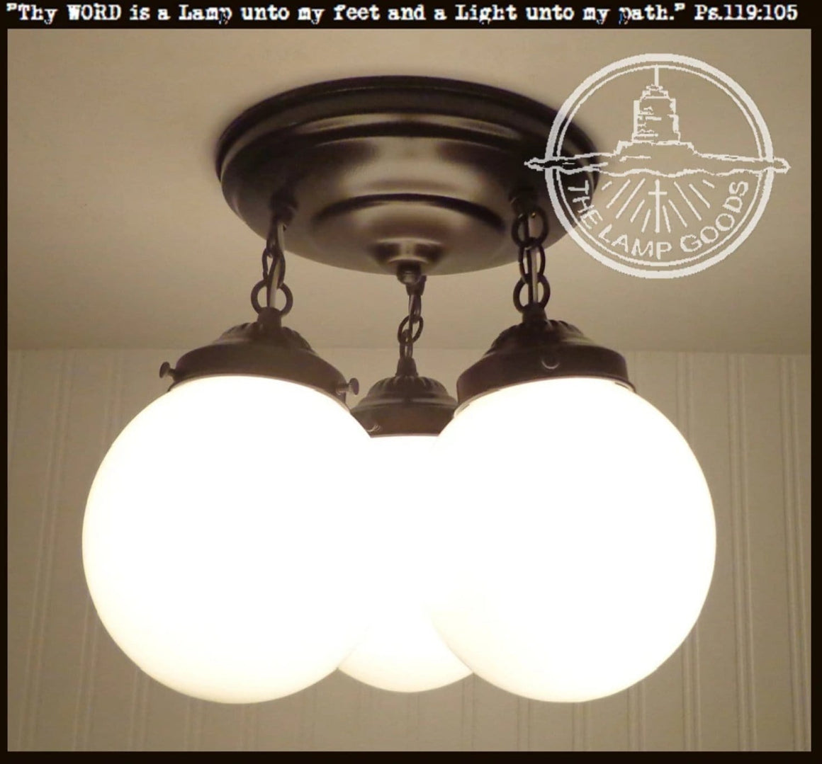 Winterport II. CEILING LIGHT Trio of Milk Glass Globes