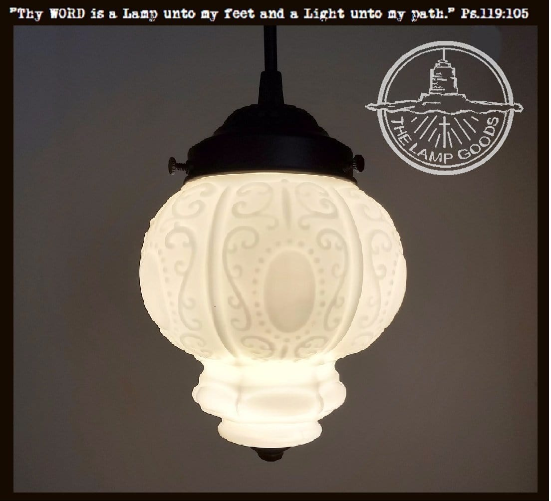 Cameo. PENDANT Light of Embossed Vintage Milk Glass Globe - The Lamp Goods