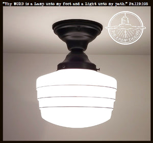 Milk Glass Flush Mount Light Fixture with Black Accents - The Lamp Goods