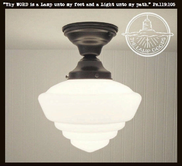 Windham Milk Glass Schoolhouse Ceiling Light Fixture