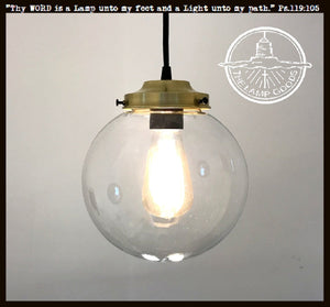 Biddeford Brass Pendant Light Large Glass - The Lamp Goods