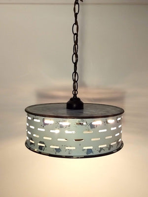 Rustic Farmhouse Chandelier Light Fixture of Chippy Galvanized Metal - The Lamp Goods