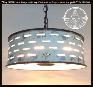 Rustic Galvanized Ceiling Light Farmhouse Fixture Chippy White - The Lamp Goods