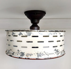 Rustic Galvanized Ceiling Light Farmhouse Fixture - The Lamp Goods