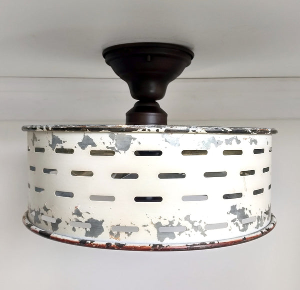 Rustic Galvanized Ceiling Light Farmhouse Fixture Chippy