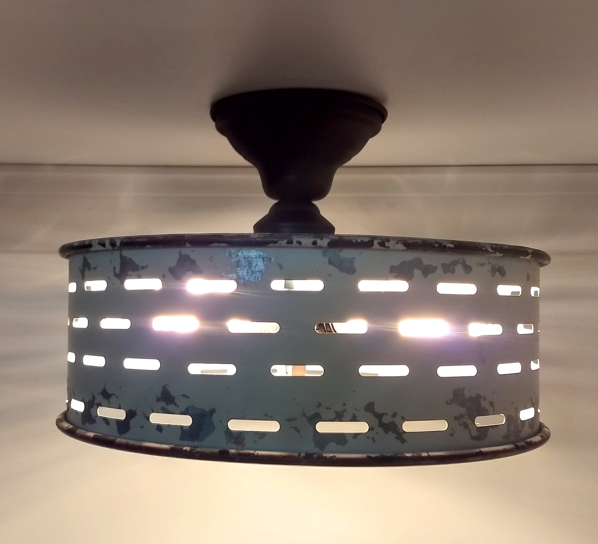 Rustic Galvanized Ceiling Light Farmhouse Fixture