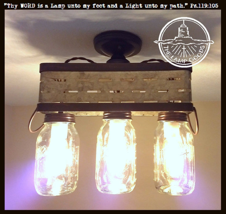 Olive Basket Mason Jar Ceiling Light