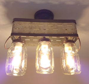 Olive Basket Mason Jar Ceiling Light - The Lamp Goods