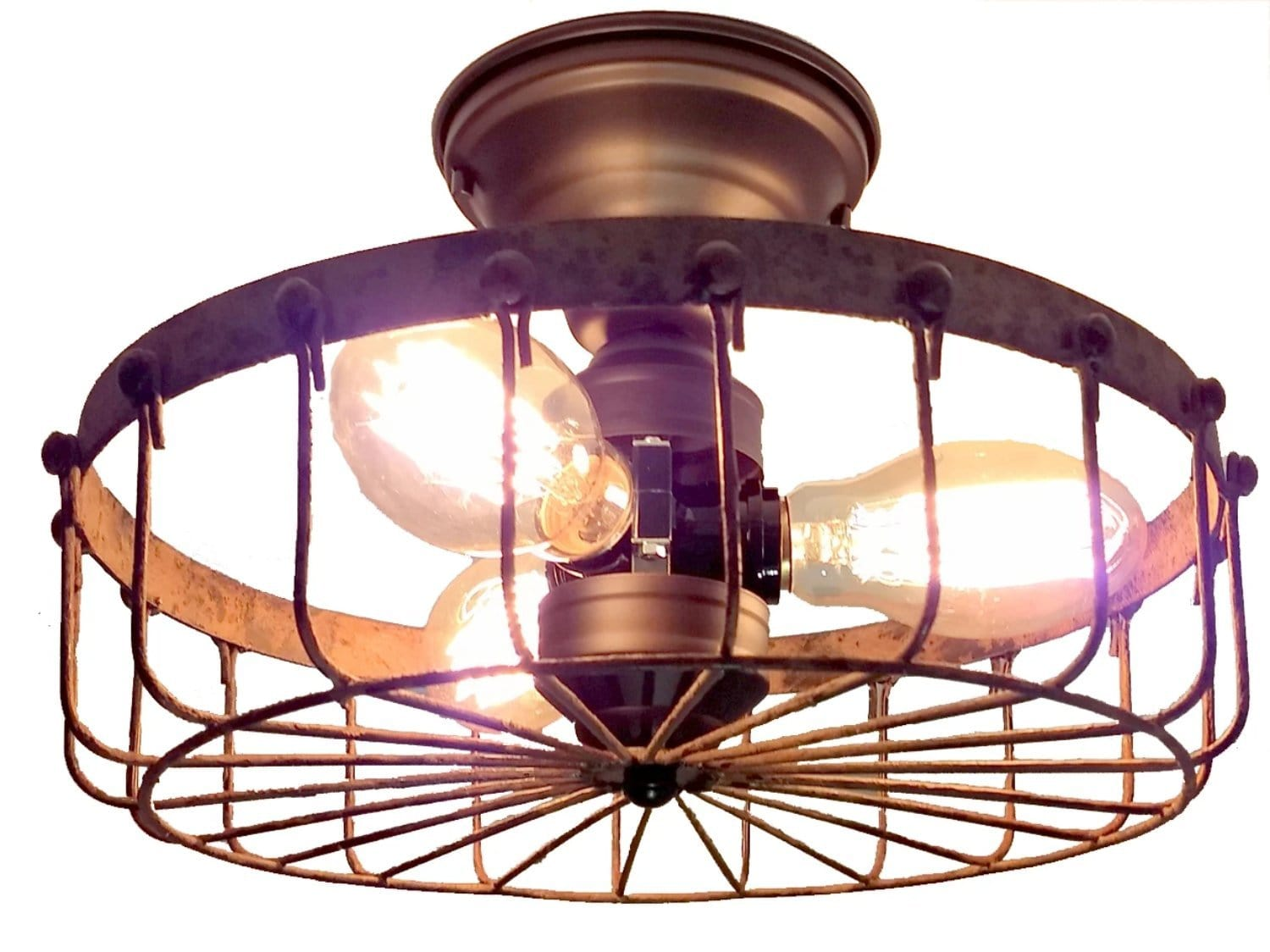 Rustic Industrial Flush Mount Ceiling Light Cage The
