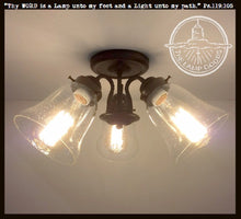 Load image into Gallery viewer, Seeded Glass Semi Flush Ceiling LIGHT Trio - The Lamp Goods