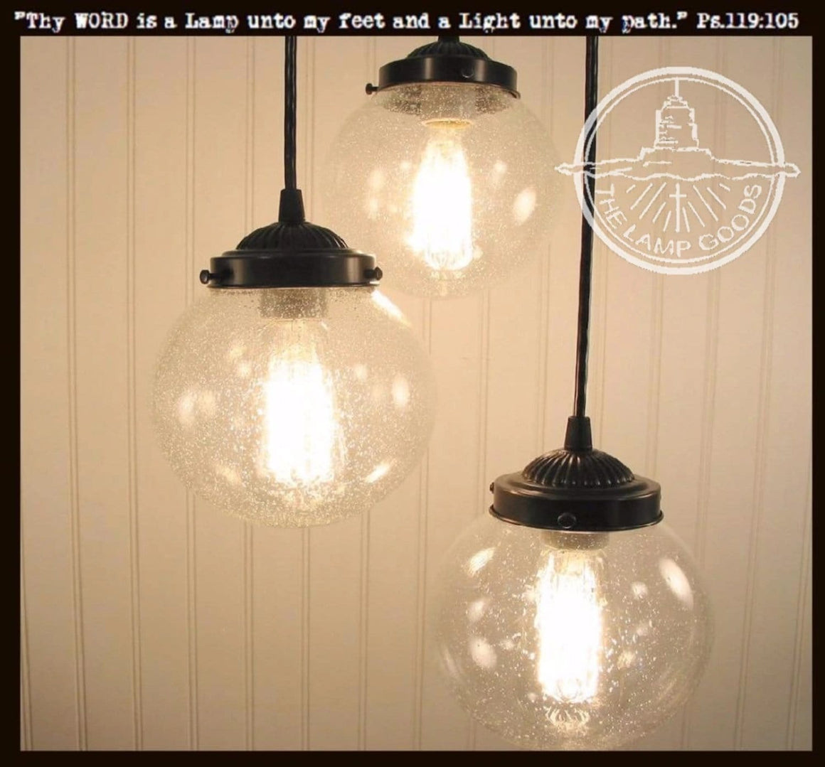 Seeded Glass Pendant Chandelier Light Trio - The Lamp Goods