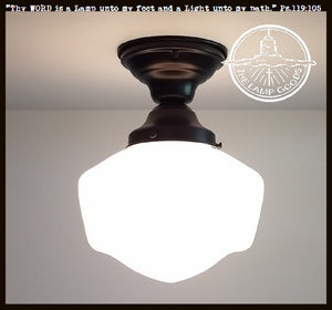 Traditional Milk Glass Flush Mount Light Fixture - The Lamp Goods