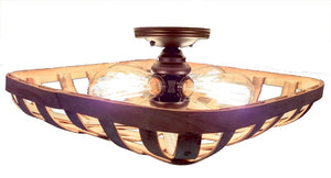 Tobacco Basket 4-Light Flush Mount Wooden Ceiling Light - The Lamp Goods