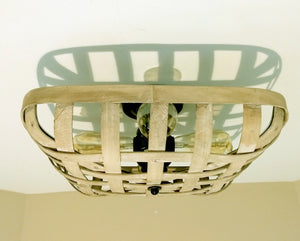 Wooden Washed Tobacco Basket 4-Light Flush Mount Ceiling Light Fixture - The Lamp Goods