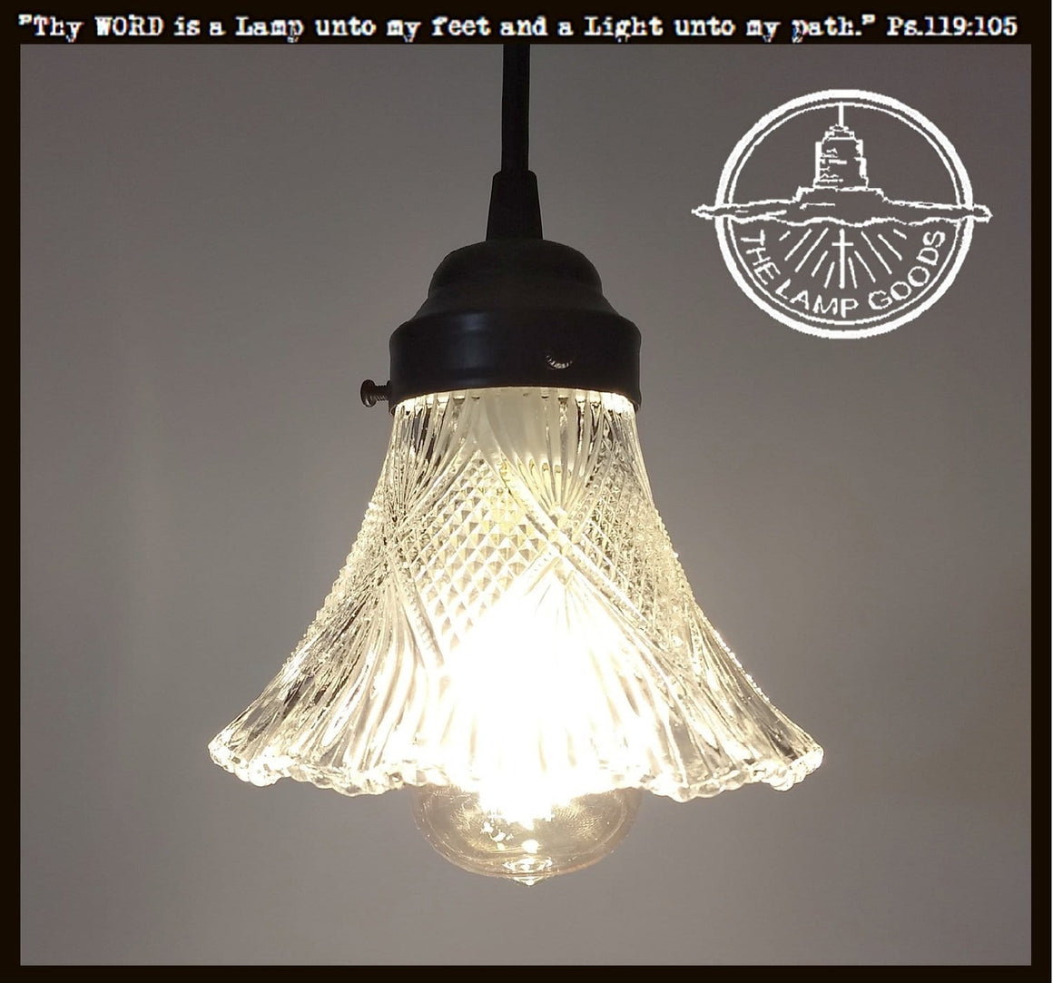 Antique Holophane Glass PENDANT Light Fixture - The Lamp Goods