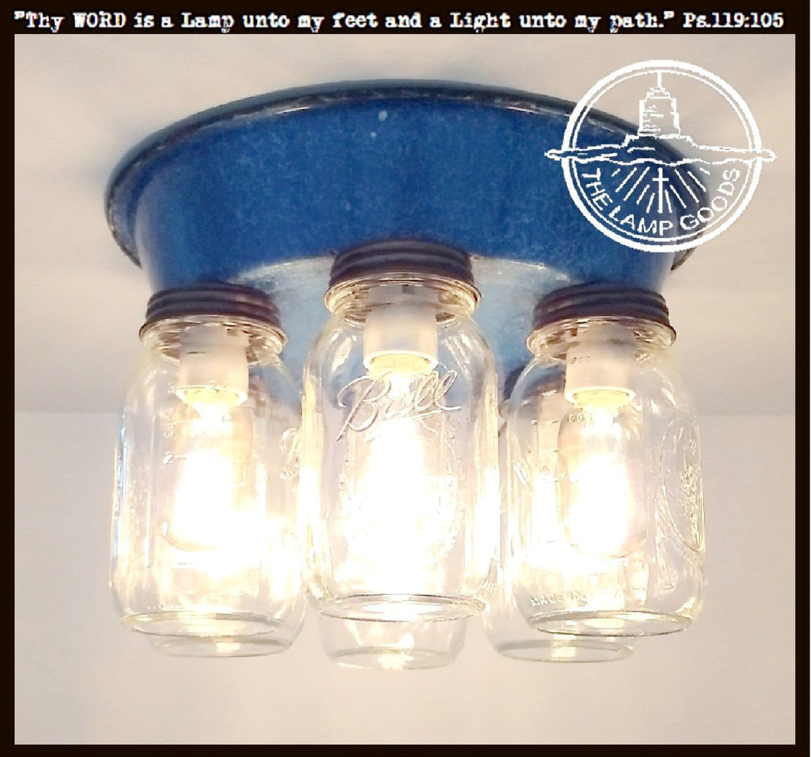 Vintage Blue Enamel Mason Jar Light - The Lamp Goods
