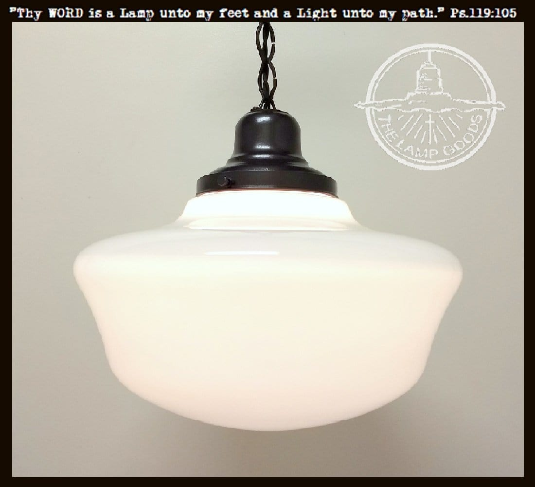 Vintage Milk Glass Schoolhouse PENDANT Light Extra Large - The Lamp Goods