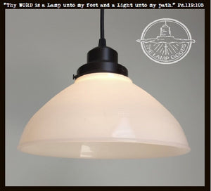 Antique PENDANT Light of Vintage Milk Glass - The Lamp Goods