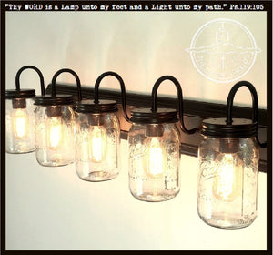 Mason Jar VANITY 5-Light Wide Mouth Quart - The Lamp Goods