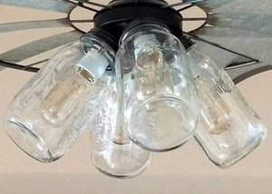 Windmill Chandelier with Farmhouse Mason Jar Lights - The Lamp Goods