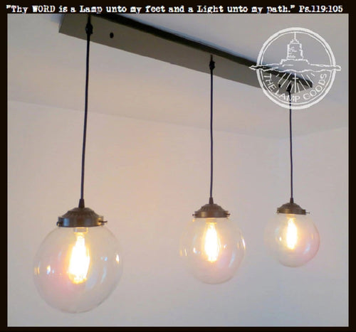 Biddeford. Modern LIGHT Trio - Large Globes with Edison Bulbs - The Lamp Goods
