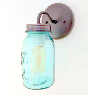 Vintage Twist On Blue Mason Jar SCONCE Lighting Fixture - The Lamp Goods