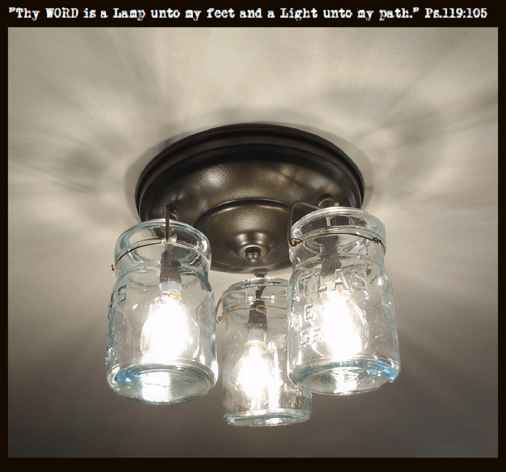 Blue Vintage Canning Jar CEILING LIGHT Created NEW