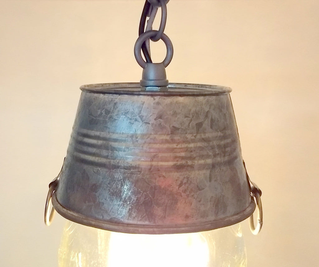 Mason Jar Ceiling LIGHT With Galvanized Bucket - The Lamp Goods