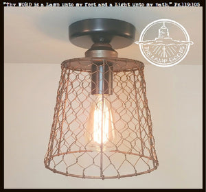 Chicken Wire Copper Tone Ceiling Light - The Lamp Goods