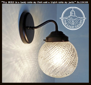 Hobnail Swirl Clear Glass Wall Sconce Light Fixture - The Lamp Goods