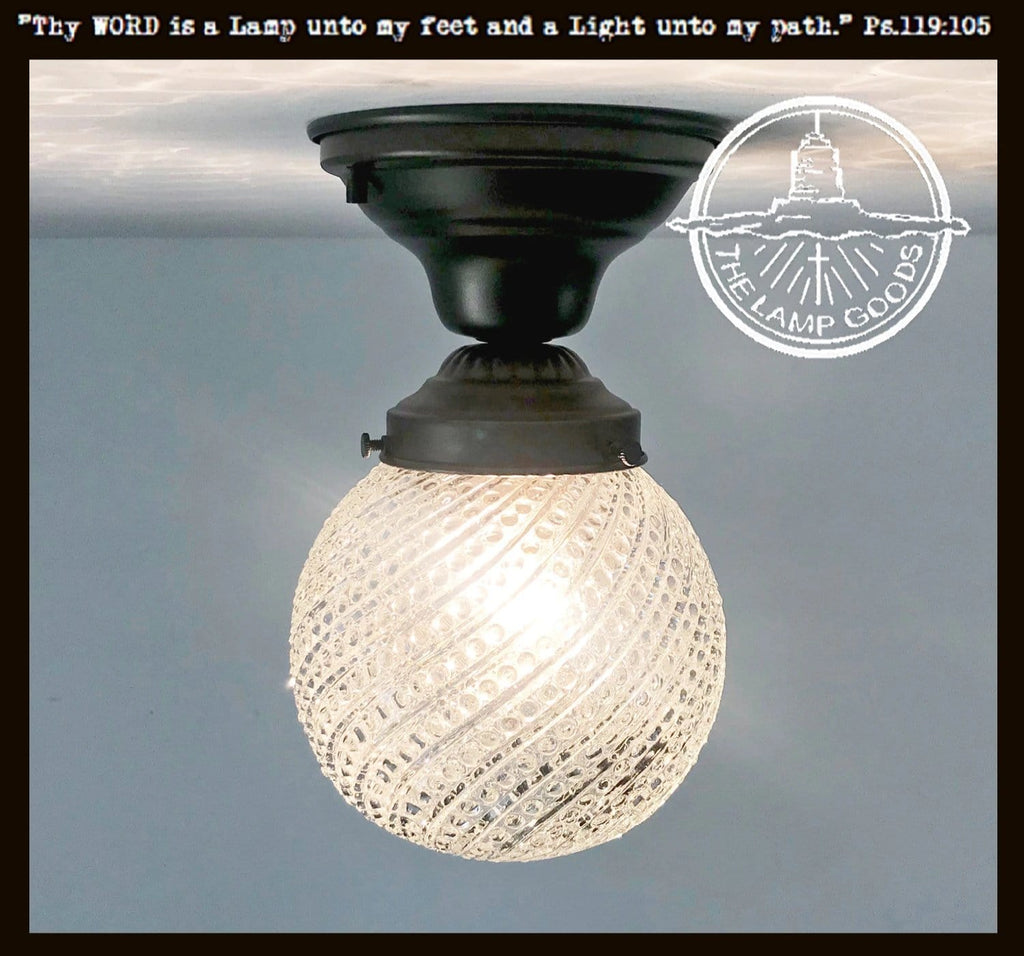 Ceiling Light Fixture with Clear SWIRL Hobnail Glass - The Lamp Goods
