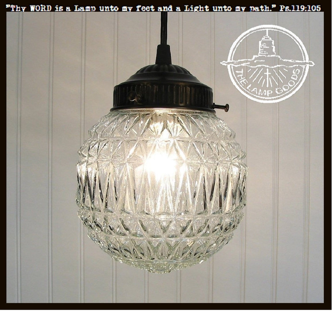 Diamond Ridge Clear Glass Pendant Light - The Lamp Goods