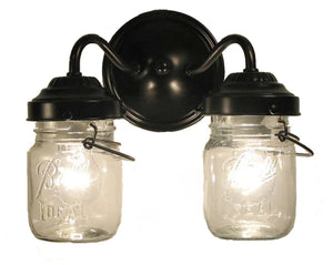 Canning Jar WALL LIGHT Double Vintage Pints - The Lamp Goods