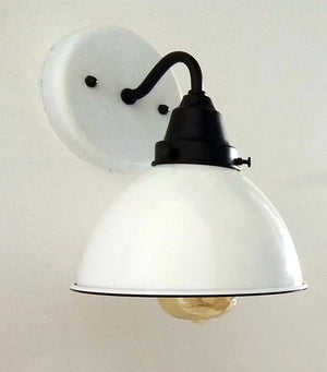 White Enamel Wall SCONCE Farmhouse Lighting - The Lamp Goods